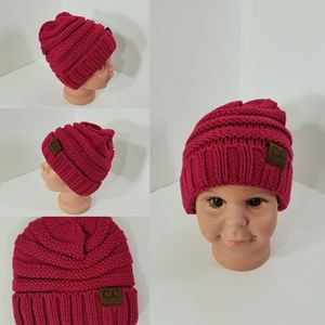 Other - Baby Beanie hats thermal protective Dark Pink